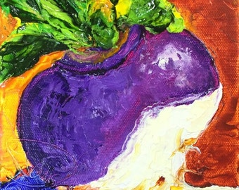 Purple Turnip 6x6 Inch Original Oil Painting by Paris Wyatt Llanso FREE SHIPPING