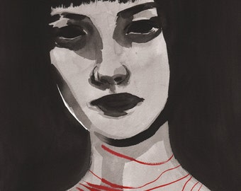 Choker - Original ink painting - sumi ink on white paper