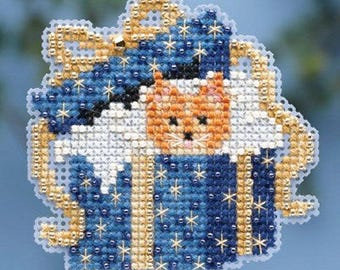 Mill Hill Winter Holiday Collection, Cat in the Box MH18-4302 Christmas Ornament Counted Cross Stitch Kit