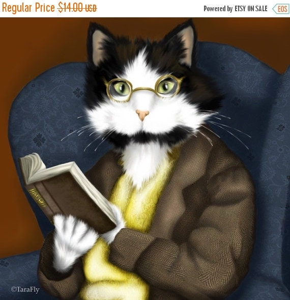 ON SALE Tuxedo Cat Art, Cat Reading Book, Wearing Glasses 5x7 Fine Art Print