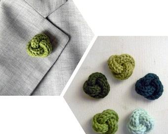 Men lapel pin. Knot lapel button. Green shades: pistachio, forest, mint, grass, moss. Wool lapel pin. Custom buttonhole.  Boutonniere.