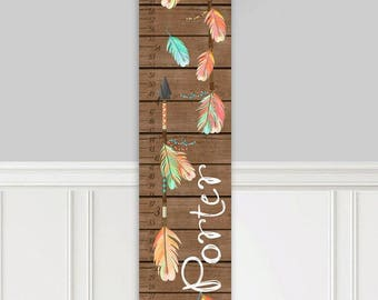 Canvas GROWTH CHART Arrow Brown and Orange Kids Bedroom Nursery Personalized Kids Growth Chart Height Chart GC0318