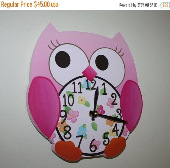 Spring SALE Pink Love Owl Wooden WALL CLOCK for Girls Bedroom Baby Nursery to Match Many Bird Bedding Themes Wc0012