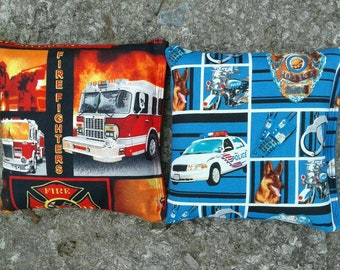 Firefighter and Police Cornhole Bags- FREE SHIPPING - Set of 8 Cornhole or Baggo Bean Bag Toss Fire Police Hero Rescue game toss bag set