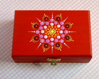 Unique gift under 50-for her-for him-jewelry storage-wood jewelry stash box-mandala-painted wooden trinket treasure-pointillism dot art-glow