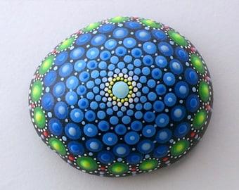 Bohemian dot art-mandala stones Etsy-painted rocks-Fathers Day gift idea-hippie-yoga-ooak 3D neon polka dot art-green blue teal-pointillism