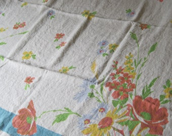 Charming Vintage 48 Inch Square Pride of Flanders Linen Floral Tablecloth