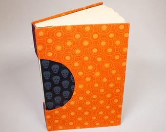 Journal, Notebook, Sketchbook or Guestbook, Unique and Hand-bound in Bright Orange with Black Skulls