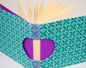 A Guestbook, Square Journal or Sketchbook, Unique and Hand-Bound in Bright Turquoise and Purple