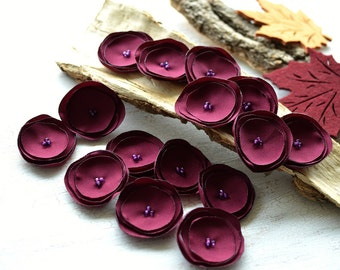 Fabric flowers, flower appliques, sew on appliques, flowers for crafts, floral embellishments, wedding supplies (15 pcs)- DARK CRANBERRY