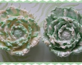 FLOWER SoAP Gift Set Of 2 - Beautiful Sparkling Green & White - Mom - Birthday - Florist - Garden Party Floral Club - Thank You Hostess Gift