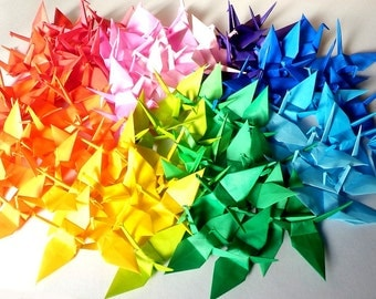 100 Small Origami Cranes Origami Crane Origami Paper Cranes - Made of 7.5cm 3 inches Japanese Paper - 20 Colors
