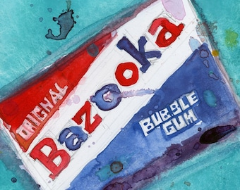 Bazooka  with Blue Background original Watercolor and print -4.75 x 4.75  or Archival PRINT