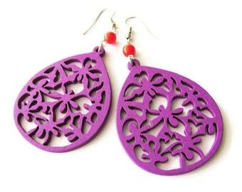 Purple Wooden Teardrop and Red Glass Beads Earrings, Lightweight Bold Bright Fun Hippie Earrings for Women