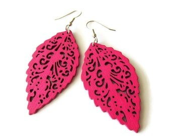 Fuchsia Pink Wooden Lazer Cut Leaf Dangle Earrings   Lightweight Bright Colourful Earrings for Women   Nature Style Jewellery   Gift for Her
