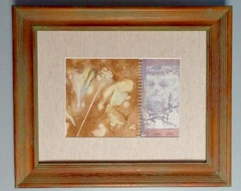 Framed Mixed Media Collage with Free Shipping in the US