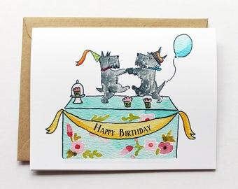 Happy Birthday Card - Scottish Terrier Birthday Party