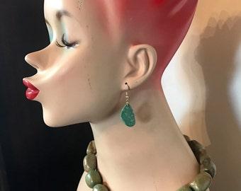 Beautiful handcarved pair kingman turquoise earrings