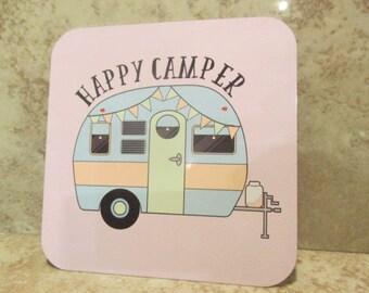 Vintage CAMPER Cup COASTER- Happy Camper RV - 4 inch set of 4 - aluminum Pink Tones- Easy Clean - Bowl - Expresso - Coffe - Tea - Camping