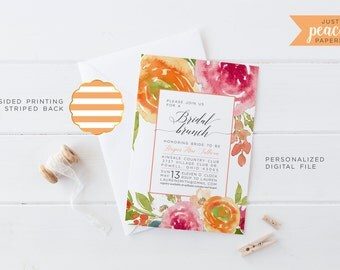 BRIDAL SHOWER invitation | watercolor rose | pink | peach | stripe | personalized | print at home