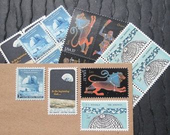 Constellations .. Vintage UNused Postage Stamps .. to post 5 letters