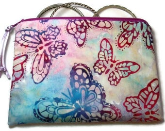 Padded Zipper Cosmetic Pouch in Berry Butterfly Batik  Print