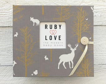 Grey and Gold Woodlands | BABY BOOK