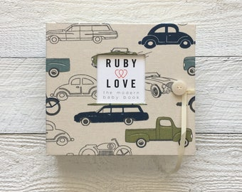 BABY BOOK | Blue and Green Vintage Cars Album