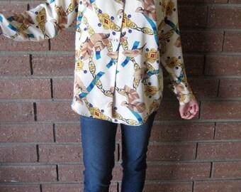 35% OFF SPRING SALE Beige Jewel Pattern Buttondown Tunic Top