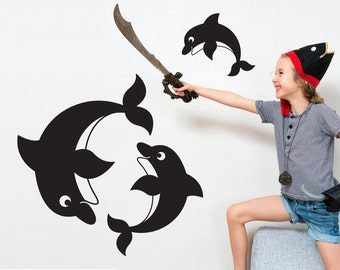 Dolphin Wall Decals Ocean Baby Nursery Under the Sea Kids Room Decor