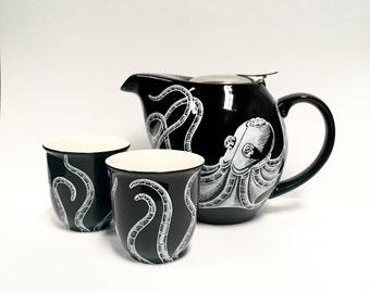 "Tea Set - Hand painted ""Roboctopus"" design - robot octopus teapot with tea cups"