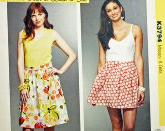 """Kwik Sew K3794, Sewing Pattern, Misses' and Girl's Skirt Pattern, Waist Size 22"""" to 36"""", Learn-To-Sew Pattern, Uncut Pattern, FF,"""