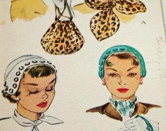 Vintage 1950s Sewing Pattern, McCall 1571, Misses' Hat, Scarves and Bag, Estate Sale Find