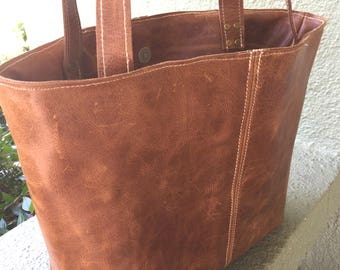 Caramel Brown Distressed Leather Tote Purse with pockets outside and inside Carmel leather bag handmade leather tote