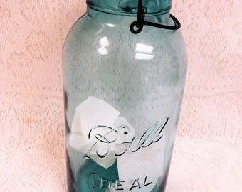Vintage Ball Ideal 1/2 Gallon Blue Canning Jar