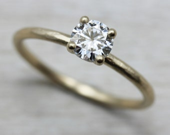 Rustic Basket Solitaire Engagement Ring - Gold or Palladium - 4mm/5mm/6mm Center Stone - Forever One Moissanite Ring - Stacking Ring