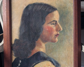1920s/1930s Vintage Lady Oil Portrait Painting of Woman on Canvas, signed