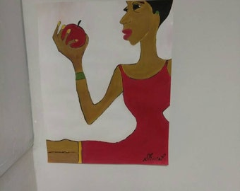 black woman art,african american art, black woman art,afrikkan art, black woman paintings, wall decor, wall art, womans room,redblack art