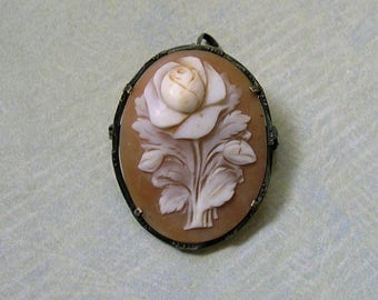 Vintage Sterling Rose Cameo Pendant Brooch, Old Carved Cameo With Rose, Vintage Sterling Cameo Pendant (#2968)
