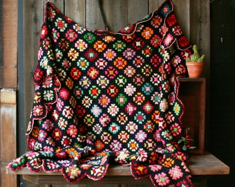 Hand Crochet Granny Square Quilt or Afghan Blanket Black Background and red green and other Color Vintage From Nowvintage on Etsy