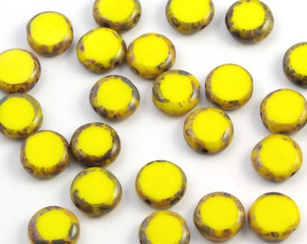 Bright Sunflower Yellow Picasso Czech Glass Table Cut Coin Beads 10mm - 15