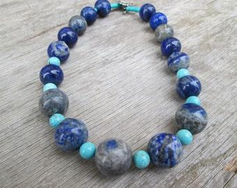 Chunky Genuine Lapis Turquoise  Beaded Necklace