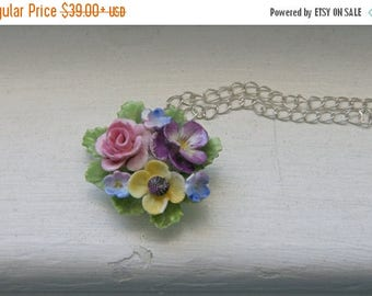 5day Mothers Day 20% SALE Vintage China posey necklace English Pansy Pastel Muti color Sweet Shabby Chic Staffordshire Cornflower Blue Yello