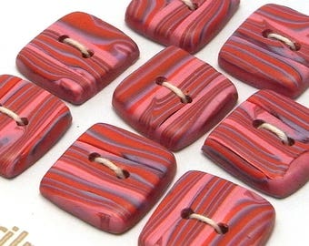 Handmade Square  Buttons Pink and Red Stripes 15mm