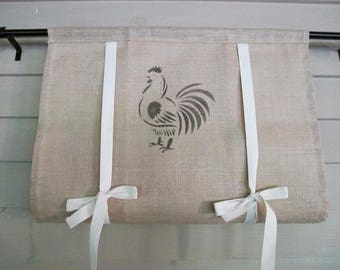 "Natural Burlap Tie Up Shade with Painted Rooster in Black 36"" long Rustic Curtain Modern Farmhouse Black Minimalist Simplicity Plain Window"