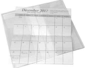 100 Pocket Clendar and Clear Vinyl Checkbook Cover 2 Yr 2017-2018 & Note Pad