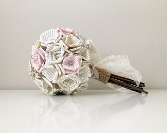 Light Pink Vintage Inspired Lace Harry Potter Book Page Bouquet