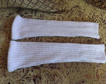 Purple Cable Knit Pure Cashmere Leg Warmers Handmade