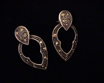 Vintage Sterling Marcasite Gothic Post Earrings