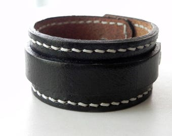 Black Leather Cuff Leather Bracelet Leather Bangle Hand Stitched with snap button